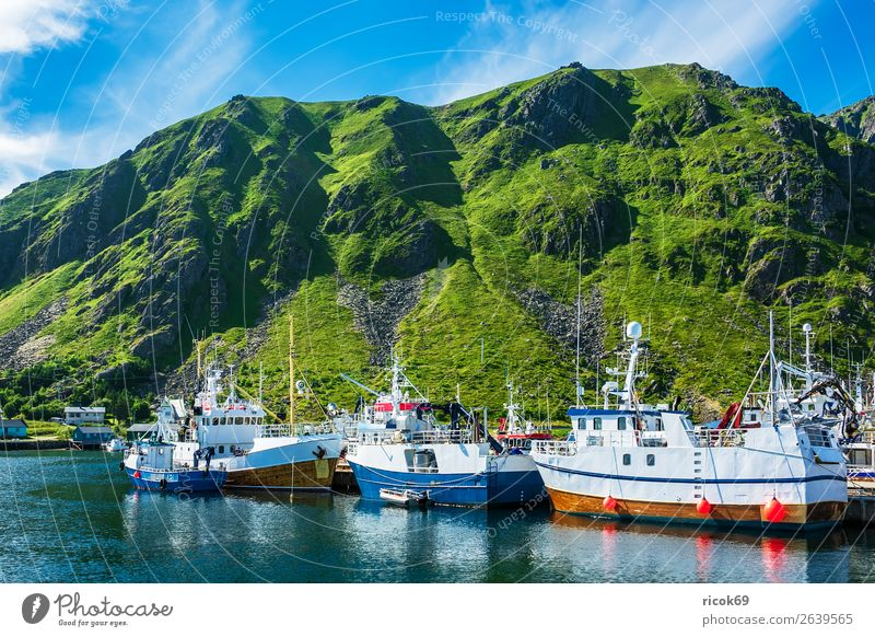 Fishing boats in Lofoten, Norway Relaxation Vacation & Travel Summer Ocean Mountain Environment Nature Landscape Water Clouds Climate Weather Rock Harbour