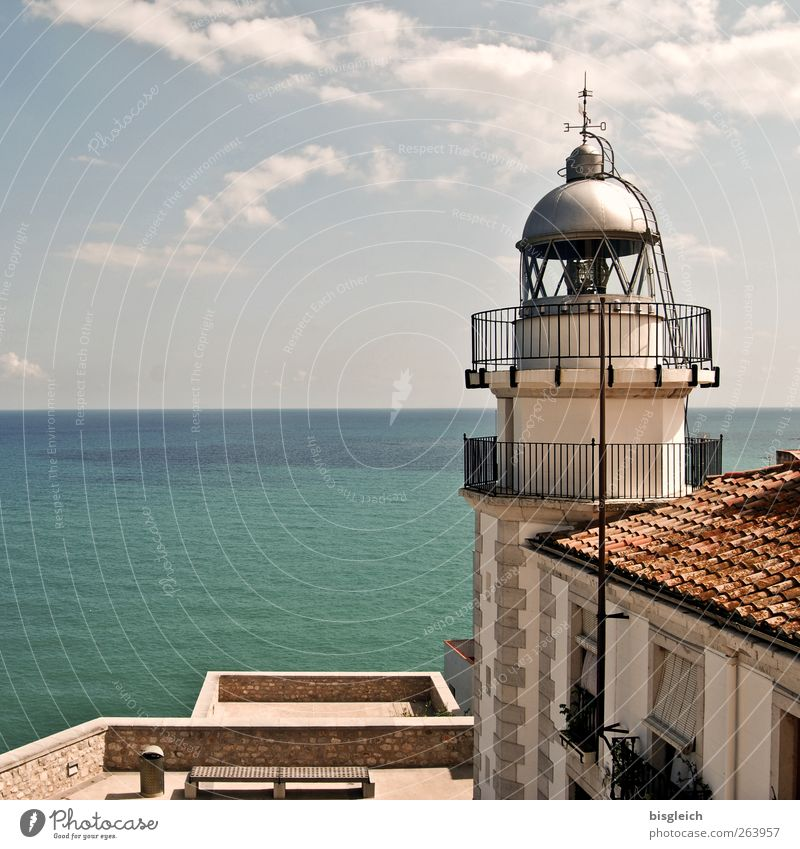Peniscola / Spain Summer Coast Ocean Europe Lighthouse Blue Brown Green Relaxation Vacation & Travel Far-off places Horizon Colour photo Exterior shot Deserted