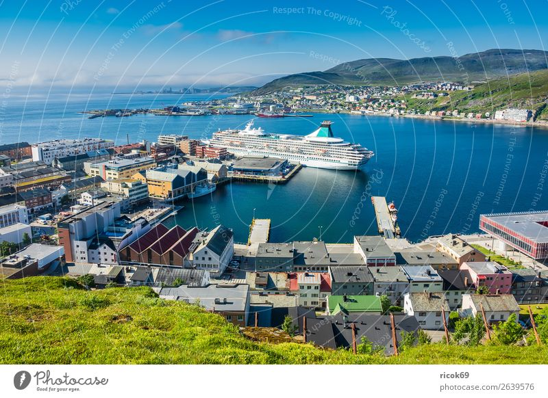 View of Hammerfest in Norway Vacation & Travel Tourism Summer Ocean Mountain House (Residential Structure) Environment Nature Landscape Water Clouds Climate