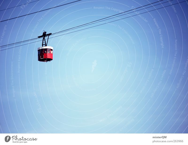 Blue Heaven Red Above Esthetic Tall Driving Steel cable Upward Blue sky Means of transport Cable car Gondola