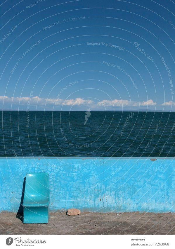 Sky Water Vacation & Travel Summer Clouds Calm Landscape Stone Moody Horizon Contentment Arrangement Concrete Modern Chair Plastic
