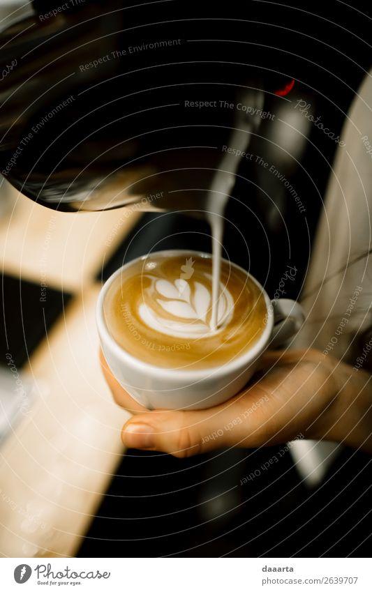 barista at work Beverage Hot drink Coffee Latte macchiato Espresso Mug Coffee cup Lifestyle Elegant Style Design Joy Leisure and hobbies Adventure Freedom Event