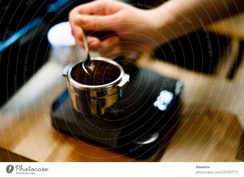 coffee morning Beverage Hot drink Coffee Latte macchiato Espresso Spoon Scale Lifestyle Elegant Style Joy Harmonious Leisure and hobbies Freedom Event