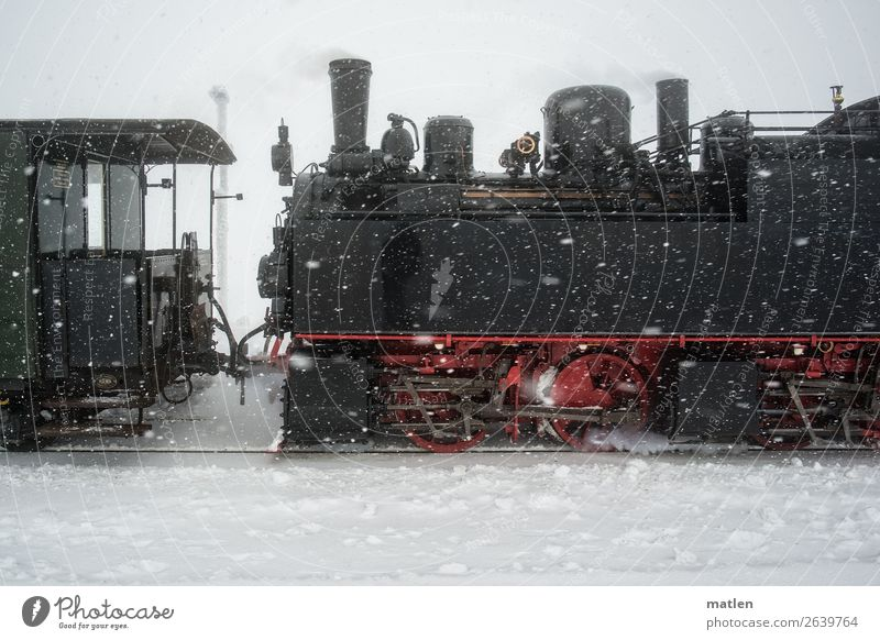 old steam engine in the snow Transport Means of transport Traffic infrastructure Passenger traffic Rail transport Railroad Engines Steamlocomotive Driving Old