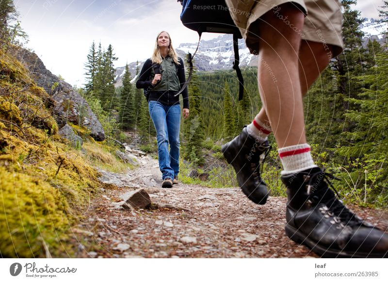 Mountain Hike Human being Woman Nature Summer Adults Forest Autumn Lanes & trails Happy Lake Couple Friendship Together Hiking Action