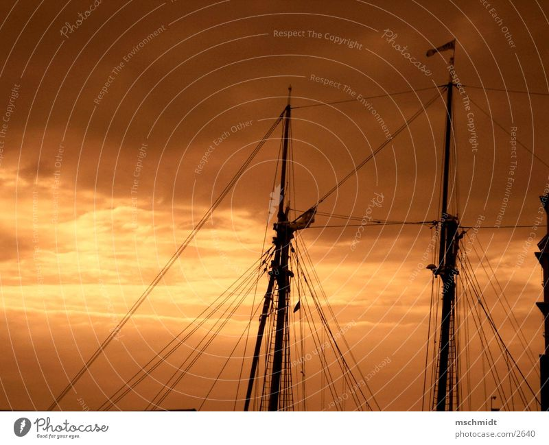 Sky Clouds Watercraft Electricity pylon Sail Sepia