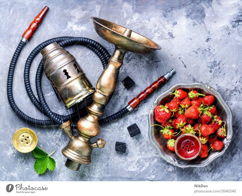 Stylish oriental shisha with strawberry hookah tobacco kalian smoke east relaxation fruit arabic mouthpiece pipe style turkish smoke shisha hookah lounge