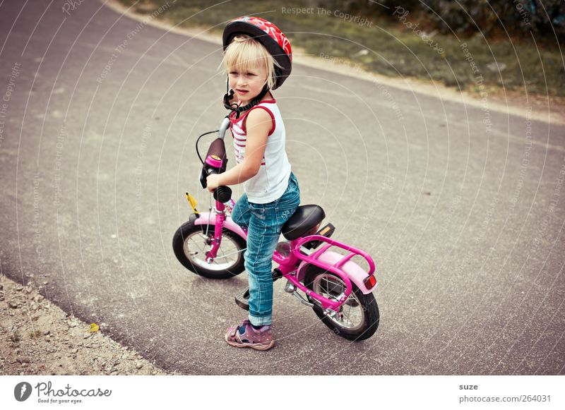 Human being Child Girl Environment Street Feminine Lanes & trails Small Infancy Blonde Bicycle Leisure and hobbies Wait Stand Childhood memory Lifestyle