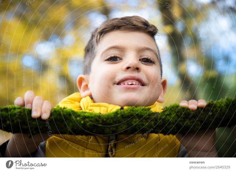 Beautiful child with a yellow vest in the forest in autumn Child Human being Nature Man Green Tree Leaf Joy Forest Winter Face Lifestyle Adults Autumn Yellow