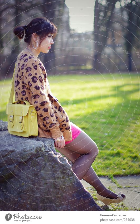 Human being Woman Youth (Young adults) Tree Summer Girl Adults Relaxation Yellow Spring Young woman Stone Legs Park Pink Arm