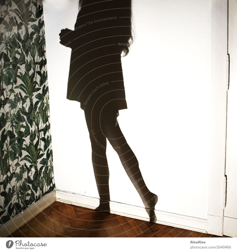 Shadow of a young woman Lifestyle Decoration Wallpaper Plant Pattern Parquet floor Night life Young woman Youth (Young adults) Legs Doorframe Wall (building)