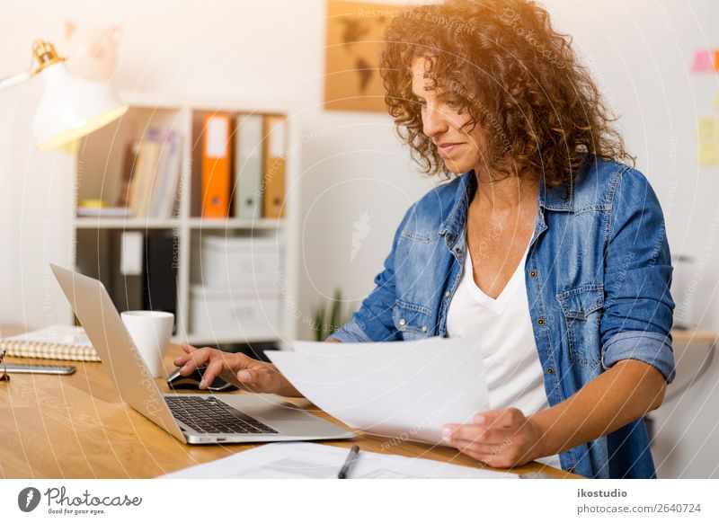 Woman working at the office Design Happy Desk Success Work and employment Profession Office work Workplace Business Career Notebook Technology Internet