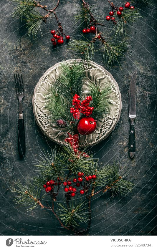 Table decoration with pine branches for Christmas Banquet Crockery Plate Cutlery Style Design Winter Decoration Party Event Restaurant Feasts & Celebrations