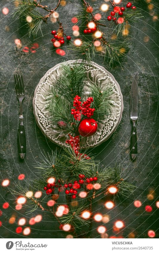 Christmas & Advent Winter Interior design Style Feasts & Celebrations Party Moody Design Decoration Tradition Hip & trendy Restaurant Event Crockery Plate