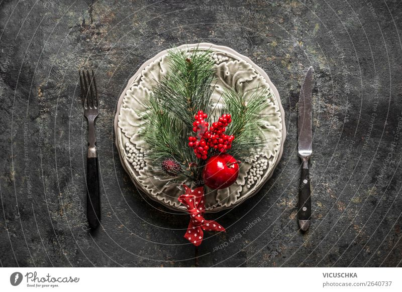Christmas Table Decoration Banquet Crockery Plate Cutlery Elegant Design Winter Living or residing Flat (apartment) Party Event Restaurant Christmas & Advent