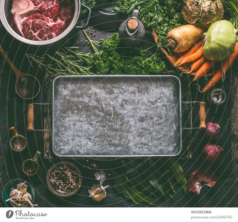 Background for meat broth, soups and stews Food Meat Vegetable Herbs and spices Cooking oil Nutrition Lunch Dinner Organic produce Diet Crockery Pot Spoon Style
