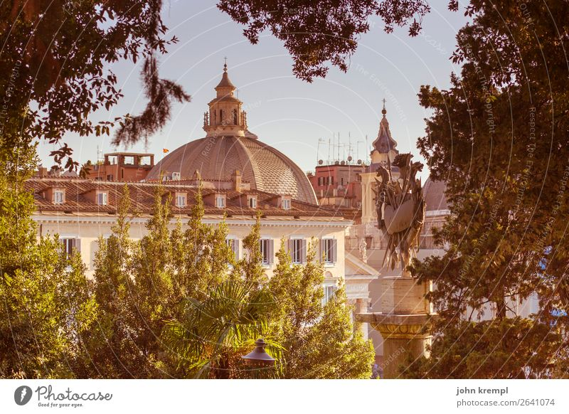XXIII Rome - Perspective Piazza del Popolo Domed roof dome leaves Italy Exterior shot Tourism Church Historic Religion and faith