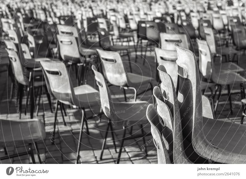 XXIV Rome - Free choice of seats Chair Armchair plastic armchair Black & white photo Seating Peter's square Loneliness tranquillity abandoned place Deserted