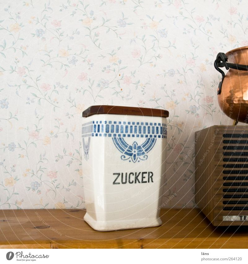 Sugar for north traveller. Decoration Wallpaper Tin Wood Characters Retro Radio (device) Floral wallpaper Kitchen equipment Sugar bowl Boiler Colour photo