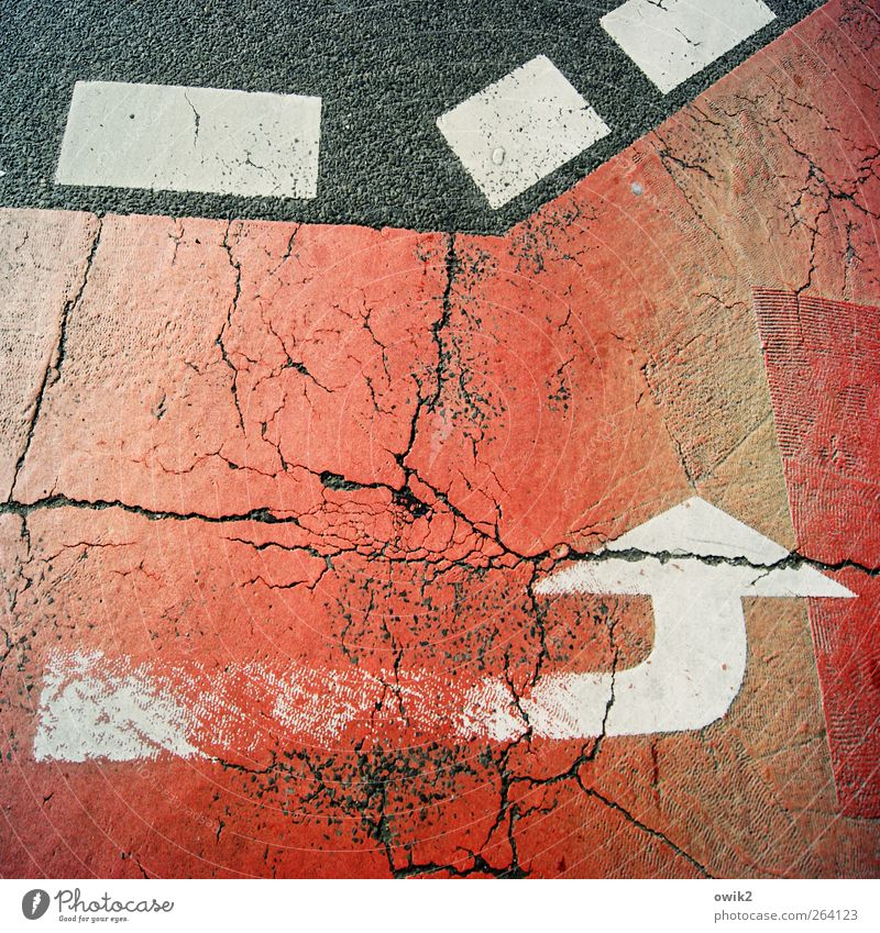 Old White Red Black Street Gray Signs and labeling Large Transport Crazy Asphalt Arrow Traffic infrastructure Crack & Rip & Tear Sharp-edged