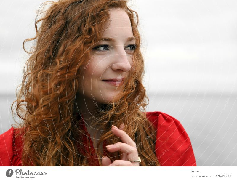nina Feminine Woman Adults 1 Human being Sky Coast Baltic Sea Dress Ring Red-haired Long-haired Curl Observe Relaxation To hold on To enjoy Looking Friendliness