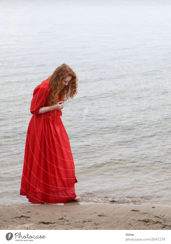 nina Feminine Woman Adults 1 Human being Water Coast Beach Baltic Sea Dress Red-haired Long-haired Curl Observe Going Looking Stand Happy Maritime Curiosity