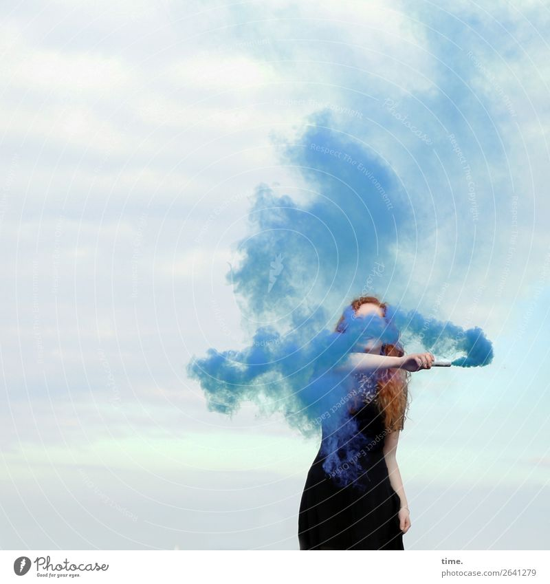 nina Feminine Woman Adults 1 Human being Sky Clouds Dress Red-haired Long-haired Curl Torch Smoke Smoke cloud Smoky To hold on Smoking Stand Rebellious Wild