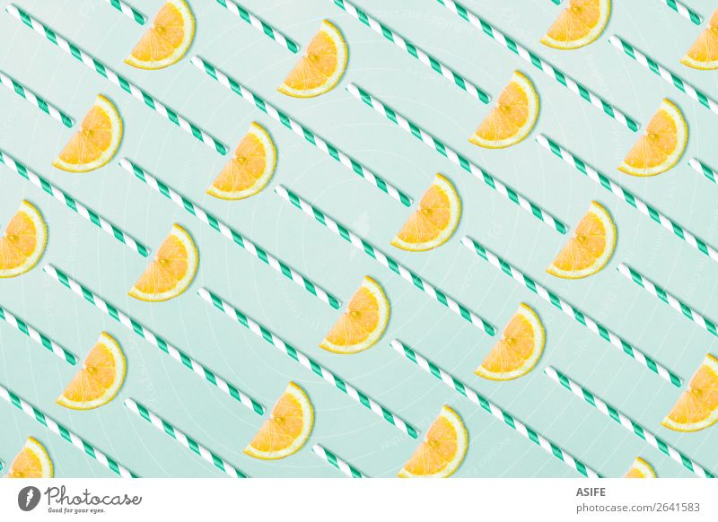 Lemonade pattern on aquamarine background Summer Blue Yellow Natural Funny Group Fruit Above Design Decoration Fresh Hip & trendy Mature Refreshment Vitamin