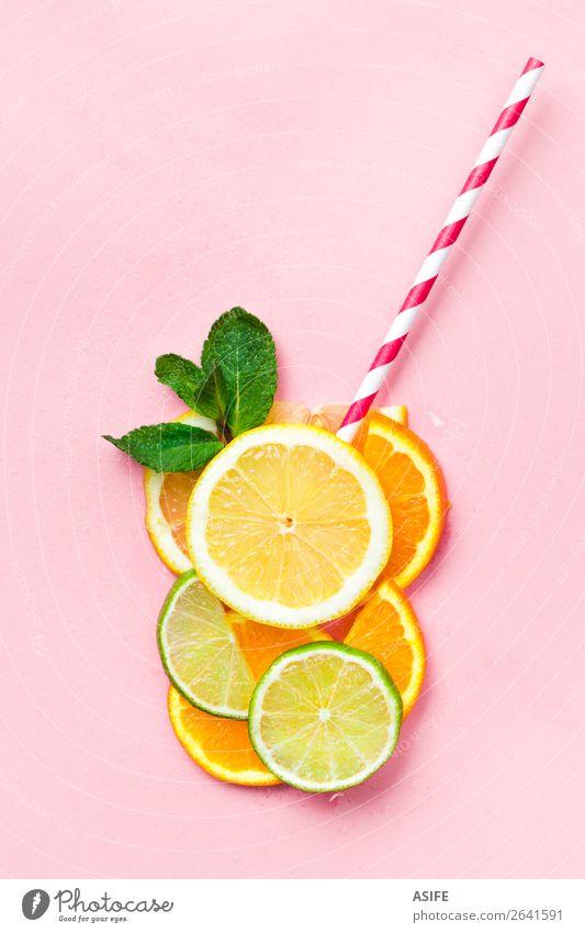 Funny juice concept Fruit Nutrition Beverage Lemonade Juice Summer Child Leaf Drop Fresh Above Yellow Green Pink Idea Creativity lime orange Tangerine citrus