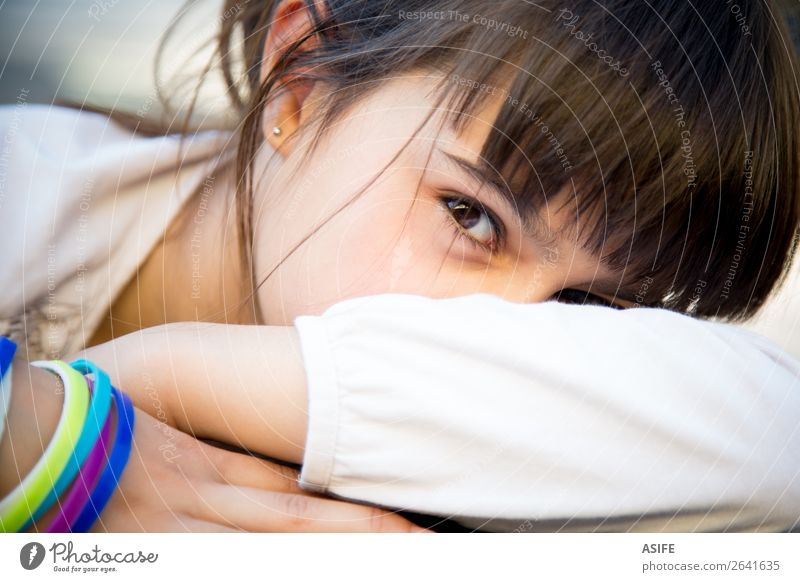 Shy little girl covering face with arms Lifestyle Face Child Woman Adults Infancy Arm Brunette Cute Emotions Colour kid shy hide Hidden eyes Covering Expression