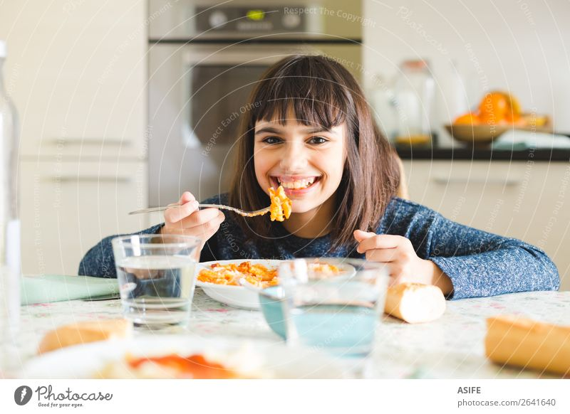 Delicious pasta for kids Cheese Nutrition Eating Lunch Dinner Fork Joy Happy Beautiful Table Kitchen Child Smiling Sit Cute Appetite girl Macaroni penne