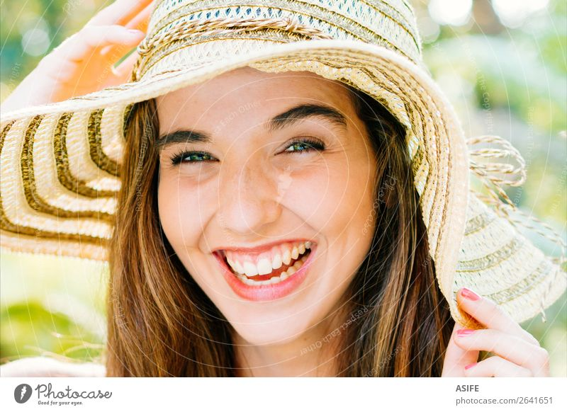 Happy girl with pamela laughing Joy Beautiful Summer Human being Woman Adults Hand Nature Tree Park Smiling Laughter Cute Green Pink Beauty Photography eyes