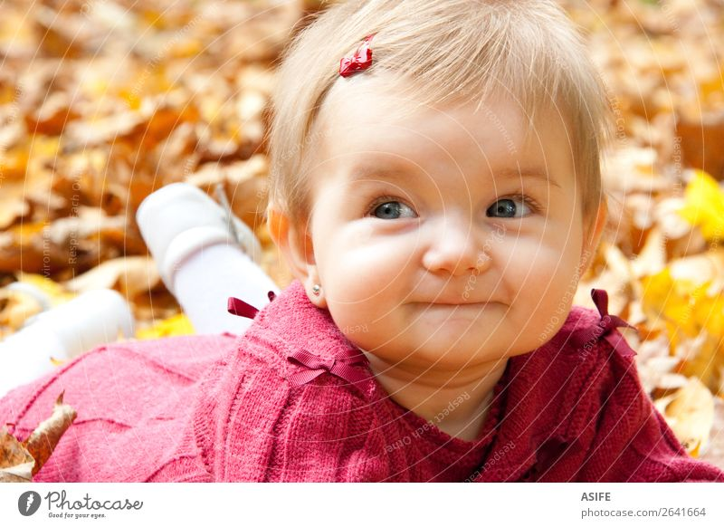 Autumn baby girl smiling Lifestyle Joy Happy Playing Child Baby Nature Warmth Leaf Park Forest Blonde Touch Discover To enjoy Smiling Happiness Natural Cute