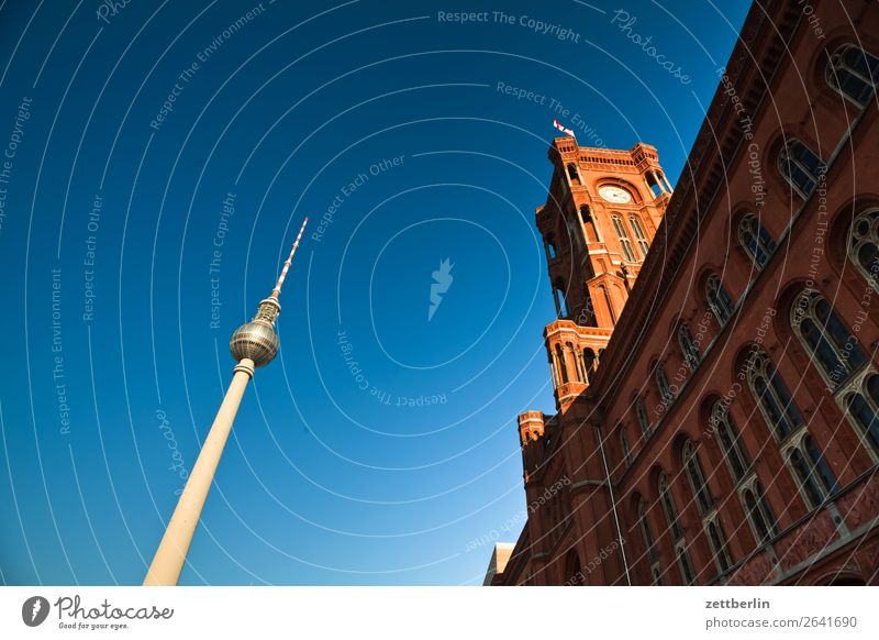 Red Town Hall and Television Tower Alexanderplatz Architecture Berlin Office City Germany Berlin TV Tower Worm's-eye view Capital city