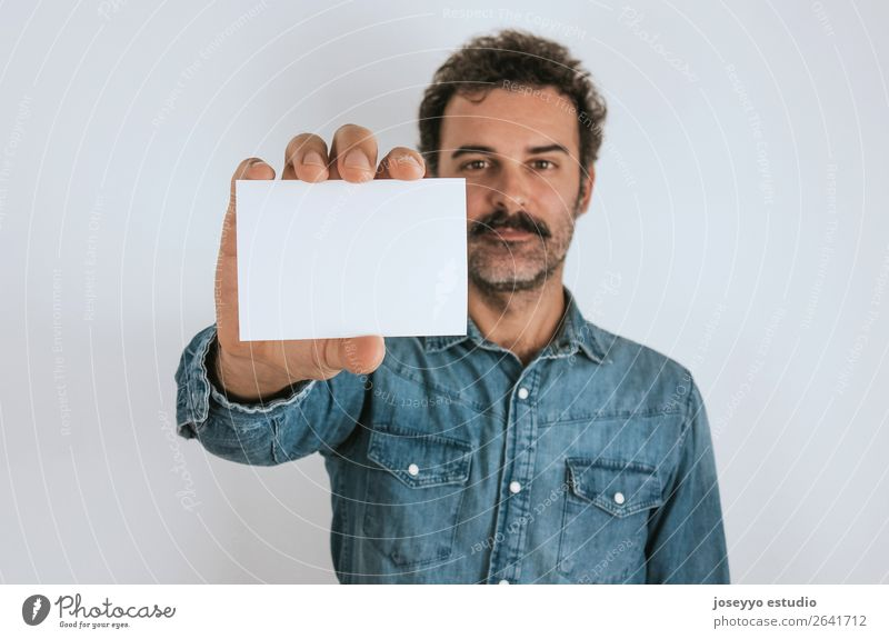 Portrait of a man showing a blank card. Lifestyle Face Human being Adults Shirt Stand Cool (slang) Hip & trendy Self-confident attractive background Blank