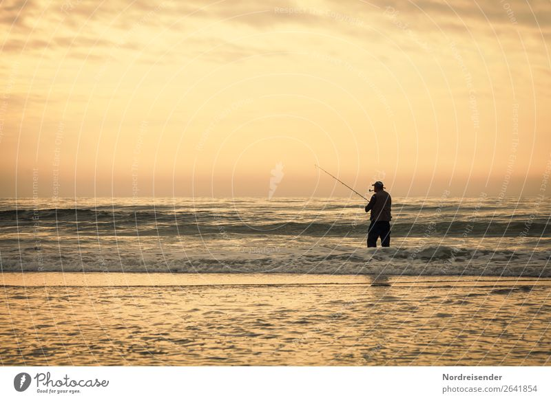 Anglers in the surf Leisure and hobbies Fishing (Angle) Vacation & Travel Far-off places Freedom Camping Summer Summer vacation Beach Ocean Human being