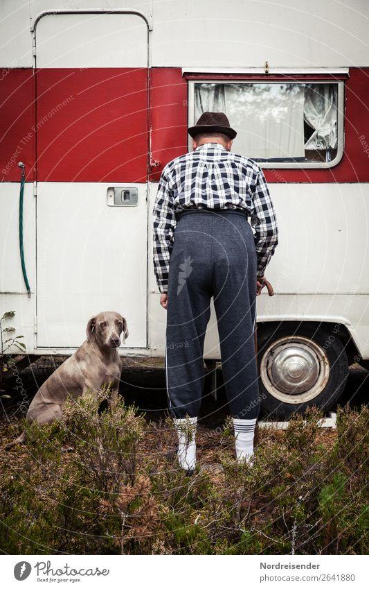 Dr. Strange. Tourism Retirement Human being Masculine Man Adults Male senior Vehicle Mobile home Caravan Fashion Hat Pet Dog Old Living or residing Together