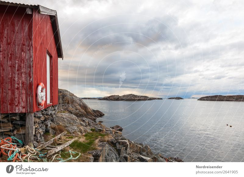 Fischerhütte in Northern Europe Fishing (Angle) Vacation & Travel Far-off places Ocean Island Nature Landscape Elements Water Sky Clouds Spring Summer Autumn
