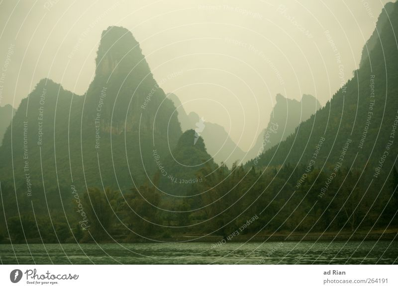 Yangshuo Nature Landscape Plant Clouds Horizon Bad weather Fog Forest Virgin forest Hill Rock Mountain Coast River bank Li river Natural Point Colour photo
