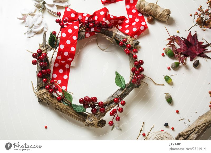 wooden wreath with christmas red barries Fruit Leisure and hobbies Winter Garden Decoration Thanksgiving Christmas & Advent New Year's Eve Work and employment