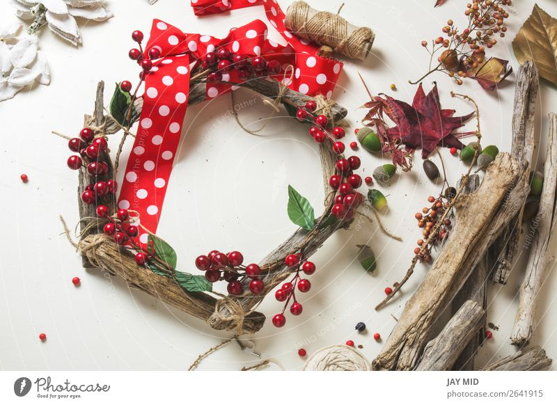 wooden wreath with christmas berries Fruit Leisure and hobbies Winter Garden Decoration Thanksgiving Christmas & Advent New Year's Eve Work and employment