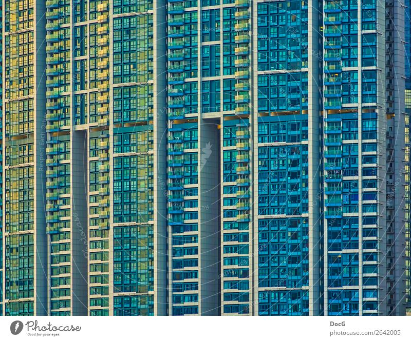 Hong Kong - Tower Blocks - Kowloon Downtown Overpopulated High-rise Manmade structures Building Architecture Facade Balcony Concrete Glass Metal