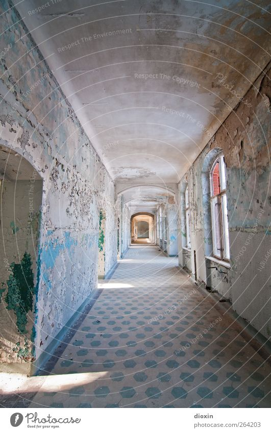 The hallway Deserted House (Residential Structure) Manmade structures Building Architecture Sanitarium Sanatorium Wall (barrier) Wall (building) Window Door