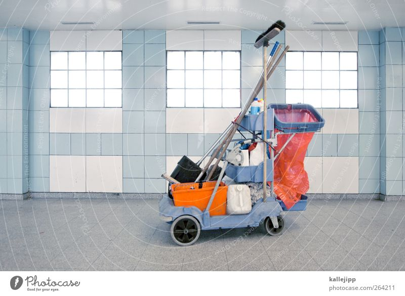 spring cleaning Work and employment Profession Workplace Cleaning Broom Bucket Garbage bag Paper bag vibrating wagon Cleaning agent Blue Glass block Tile