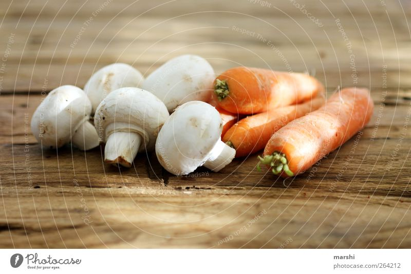 Nutrition Food Lie Healthy Eating Vegetable Mushroom Organic produce Carrot Vegetarian diet Wooden table Button mushroom