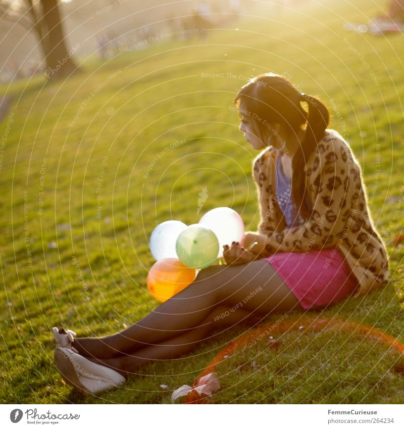 Spring Spring Spring XIII Young woman Youth (Young adults) Woman Adults Legs 1 Human being 18 - 30 years Relaxation Contentment Park Chinese Balloon Sit