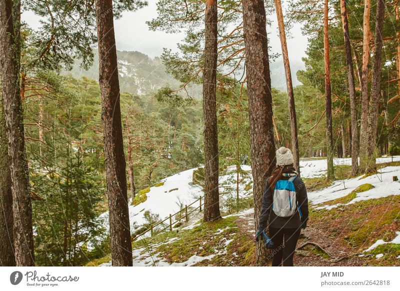 Young woman hiking in white winter forest. Lifestyle concept. Woman Human being Nature Vacation & Travel Beautiful White Landscape Forest Winter Mountain Adults