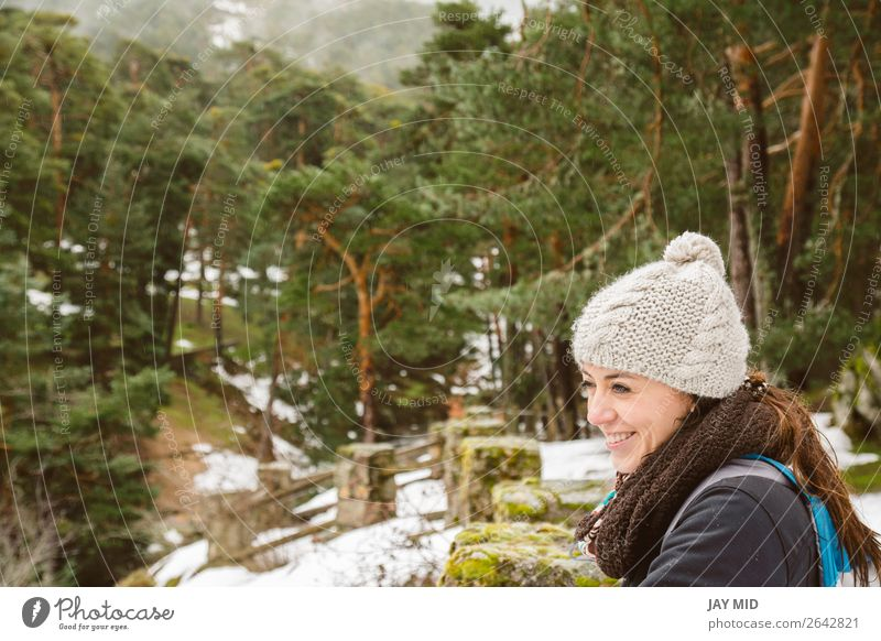 Hiking, woman hiker enjoying the scenery in the snowy forest Woman Human being Nature Vacation & Travel Beautiful White Landscape Forest Winter Mountain
