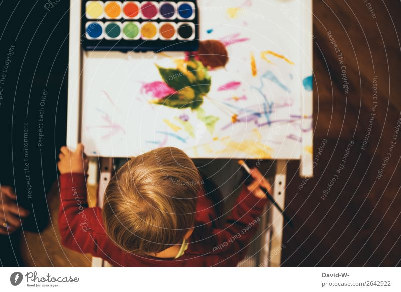 Watercolour I Leisure and hobbies Playing Handicraft Parenting Kindergarten Child Study Human being Feminine Toddler Girl Infancy Life Head Fingers 1