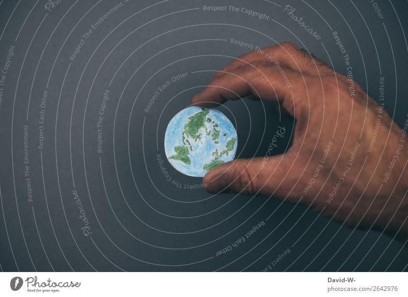 hold the world in one's hands Earth Globe Future Fear of the future Life Responsibility sense of responsibility Destruction Decline sustainability